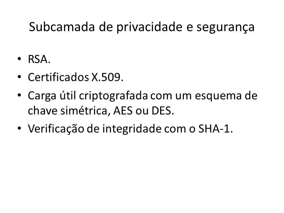 Subcamada de privacidade e segurança