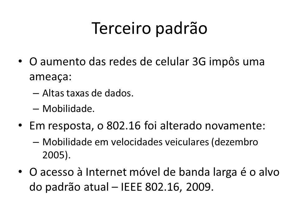 Terceiro padrão O aumento das redes de celular 3G impôs uma ameaça: