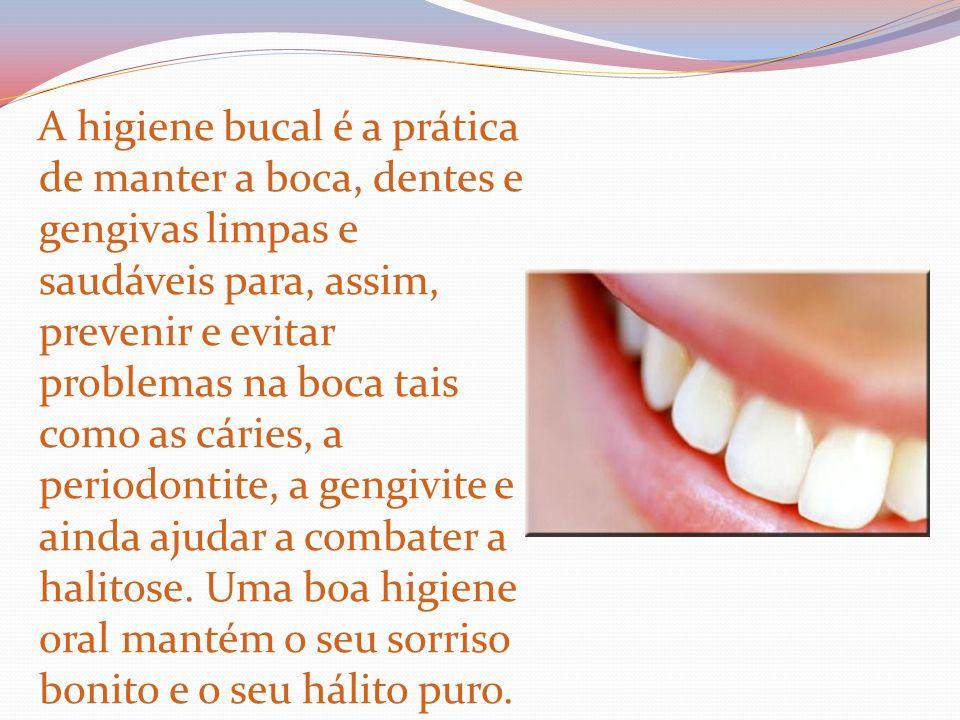 A higiene bucal é a prática de manter a boca, dentes e gengivas limpas e saudáveis para, assim, prevenir e evitar problemas na boca tais como as cáries, a periodontite, a gengivite e ainda ajudar a combater a halitose.