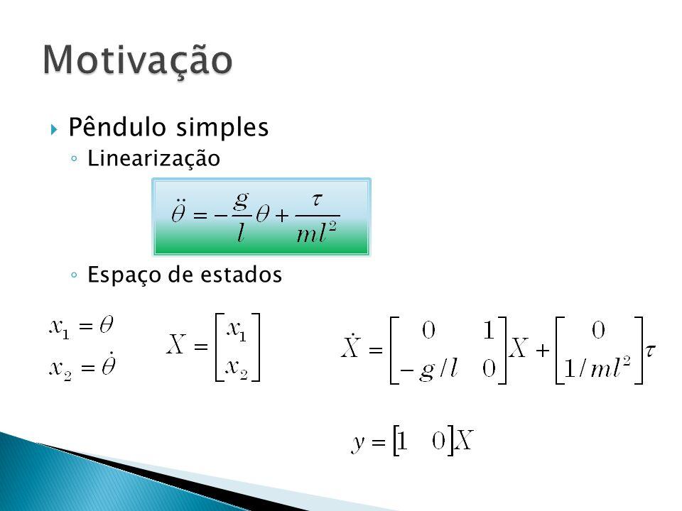 Motivação Pêndulo simples Linearização Espaço de estados