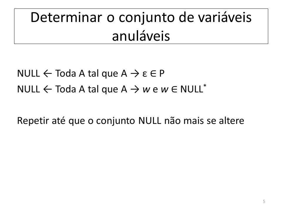 Determinar o conjunto de variáveis anuláveis