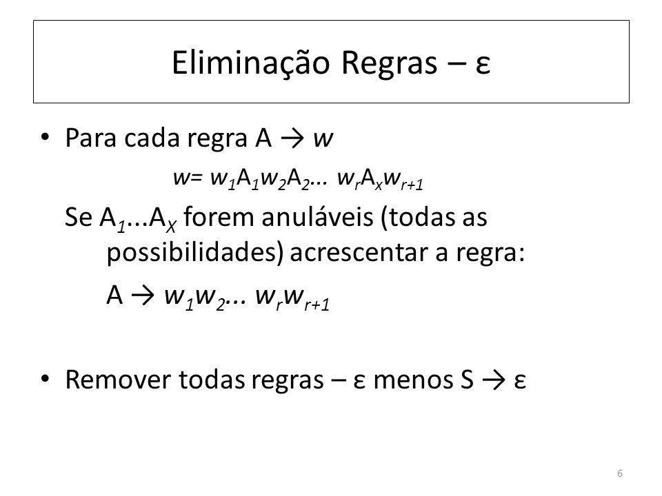 Eliminação Regras – ε Para cada regra A → w