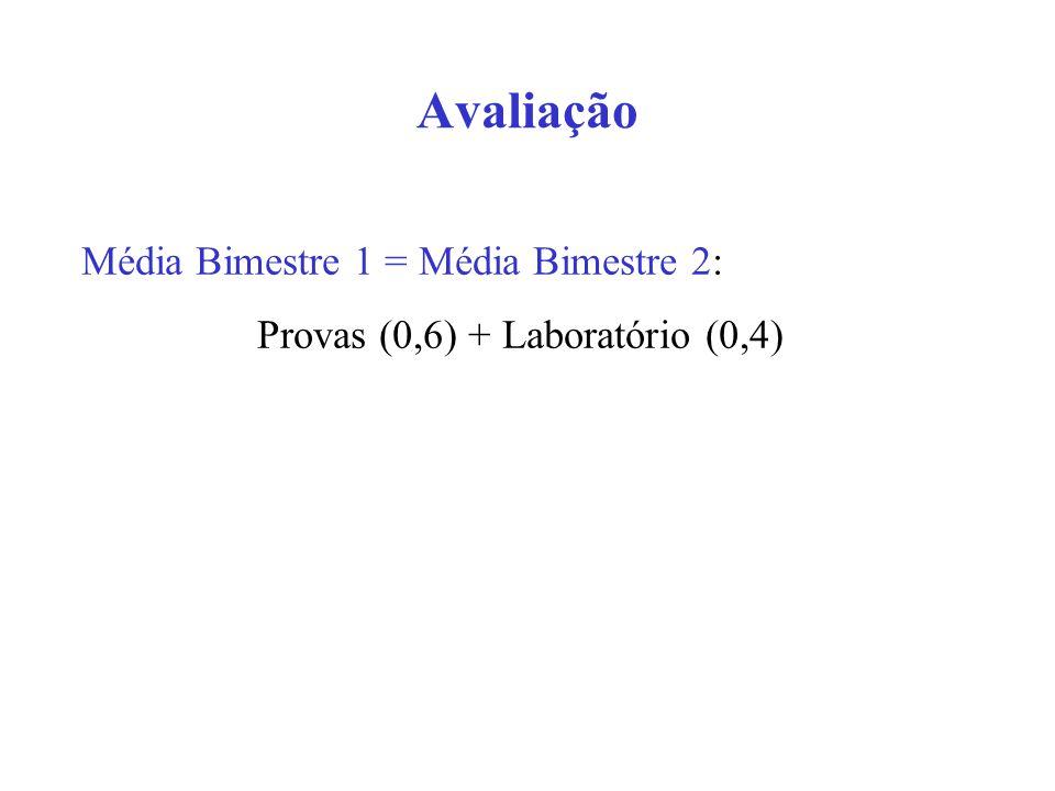 Provas (0,6) + Laboratório (0,4)