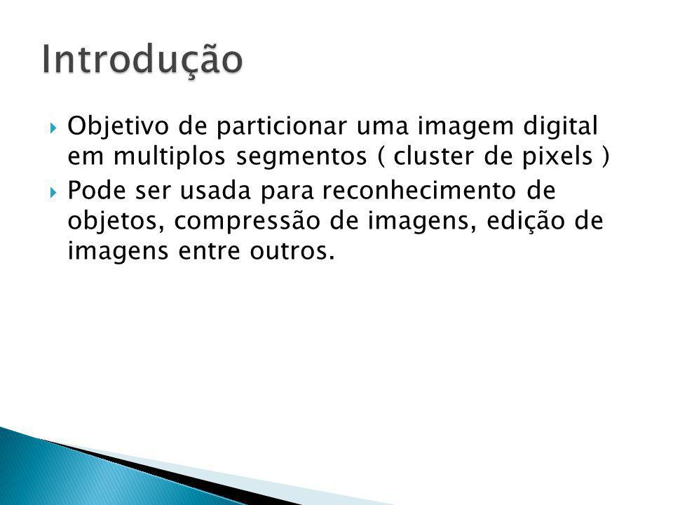 Introdução Objetivo de particionar uma imagem digital em multiplos segmentos ( cluster de pixels )