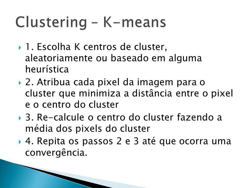 Clustering – K-means 1. Escolha K centros de cluster, aleatoriamente ou baseado em alguma heurística.