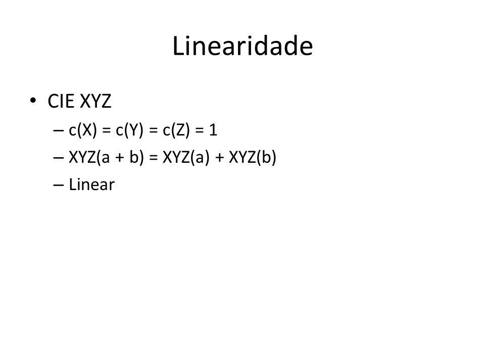 Linearidade CIE XYZ c(X) = c(Y) = c(Z) = 1