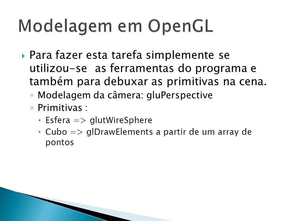 Modelagem em OpenGL Para fazer esta tarefa simplemente se utilizou-se as ferramentas do programa e também para debuxar as primitivas na cena.