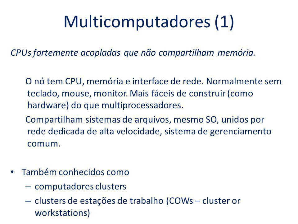Multicomputadores (1) CPUs fortemente acopladas que não compartilham memória.