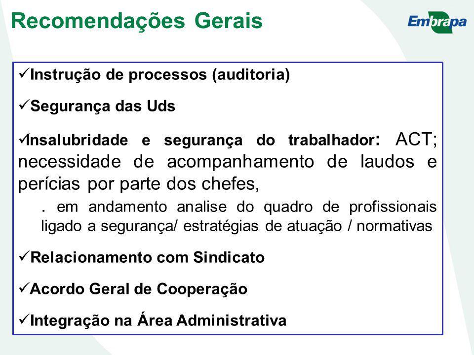 Recomendações Gerais Instrução de processos (auditoria) Segurança das Uds.