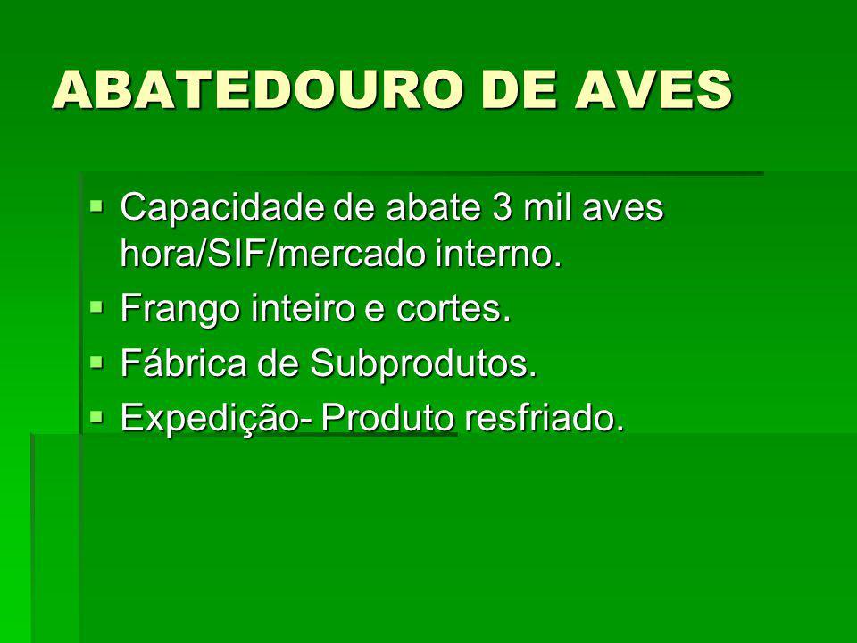 ABATEDOURO DE AVES Capacidade de abate 3 mil aves hora/SIF/mercado interno. Frango inteiro e cortes.