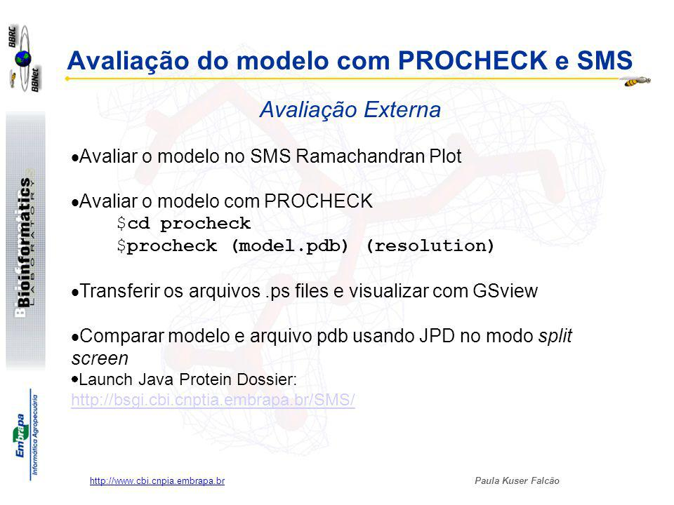 Avaliação do modelo com PROCHECK e SMS Avaliação Externa