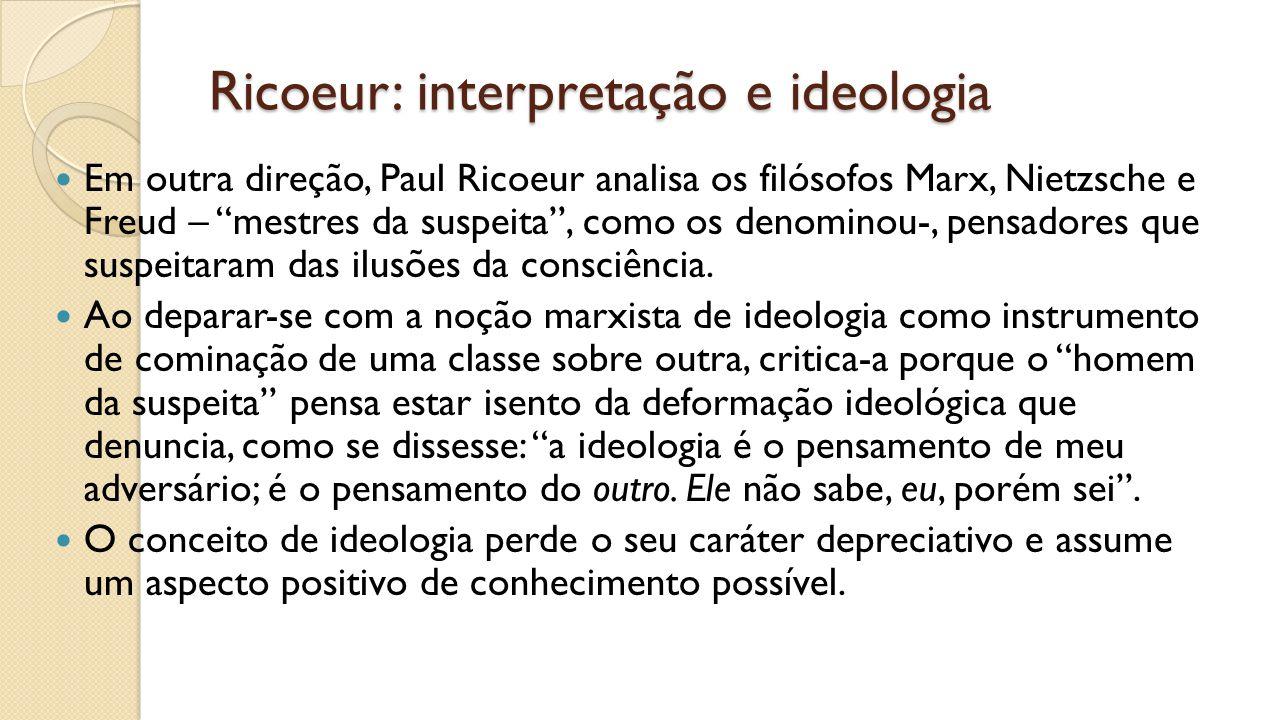 Ricoeur: interpretação e ideologia