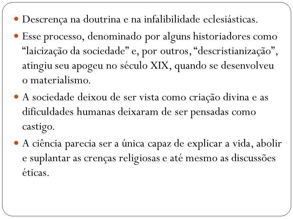 Descrença na doutrina e na infalibilidade eclesiásticas.
