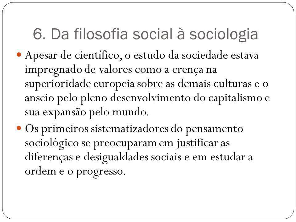 6. Da filosofia social à sociologia