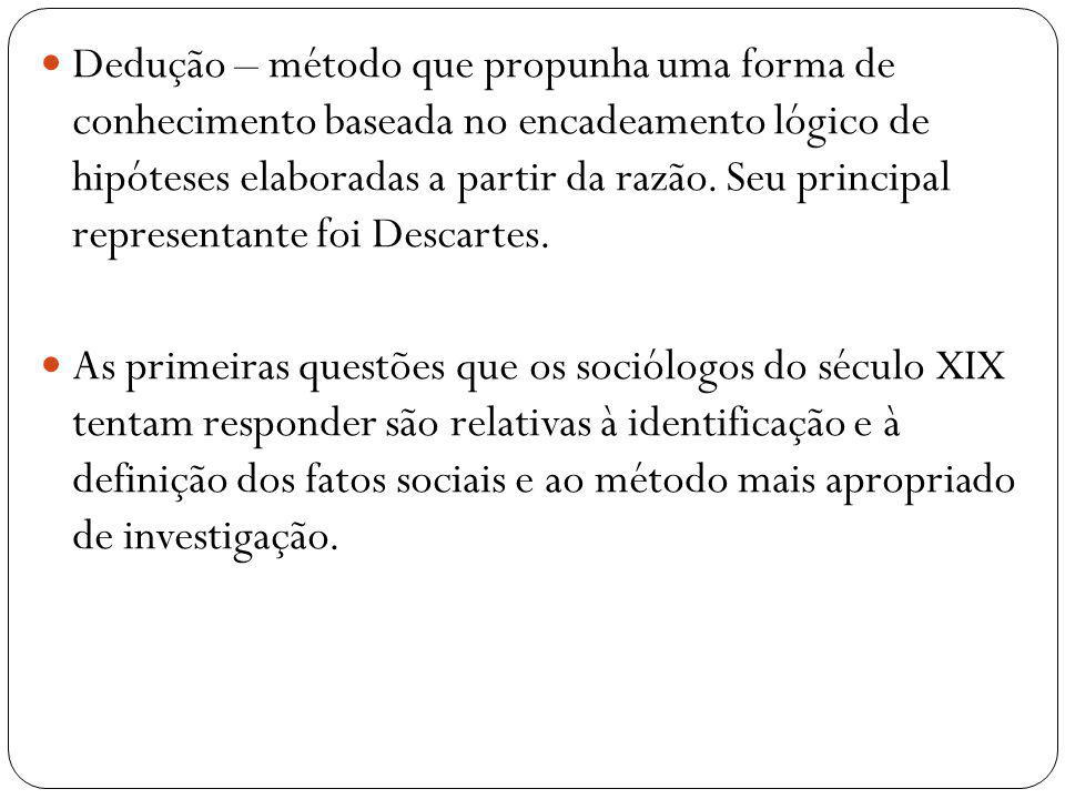 Dedução – método que propunha uma forma de conhecimento baseada no encadeamento lógico de hipóteses elaboradas a partir da razão. Seu principal representante foi Descartes.