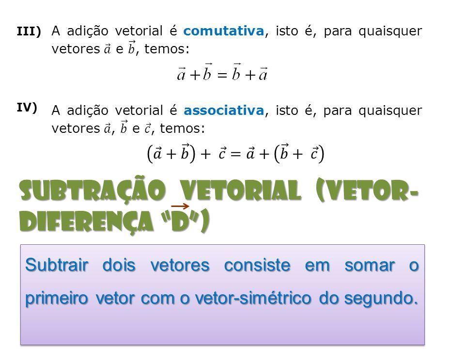 subtração vetorial (Vetor-diferença D )