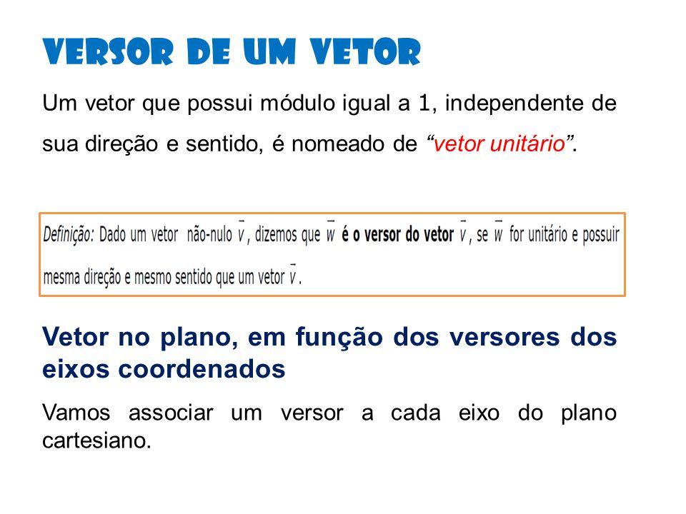 Versor de um Vetor Um vetor que possui módulo igual a 1, independente de sua direção e sentido, é nomeado de vetor unitário .