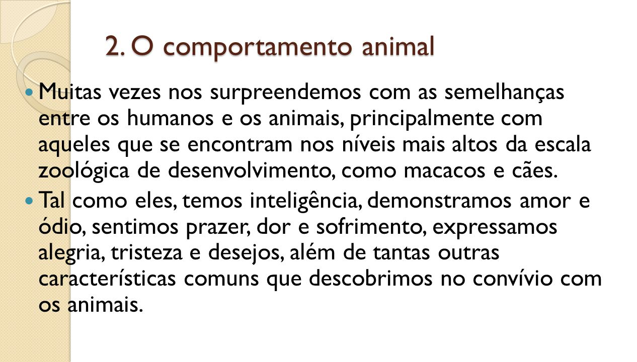 2. O comportamento animal