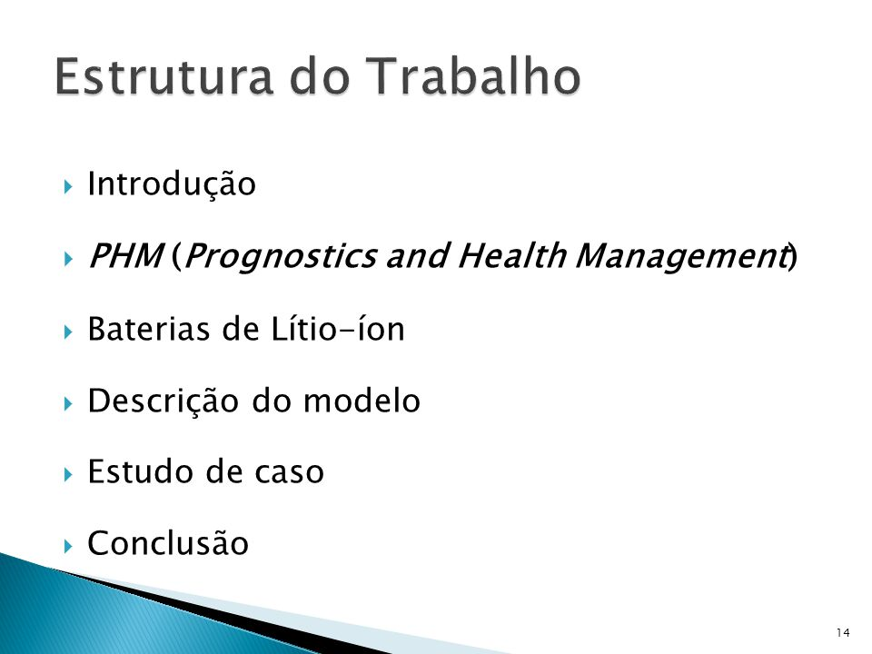 Estrutura do Trabalho PHM (Prognostics and Health Management)