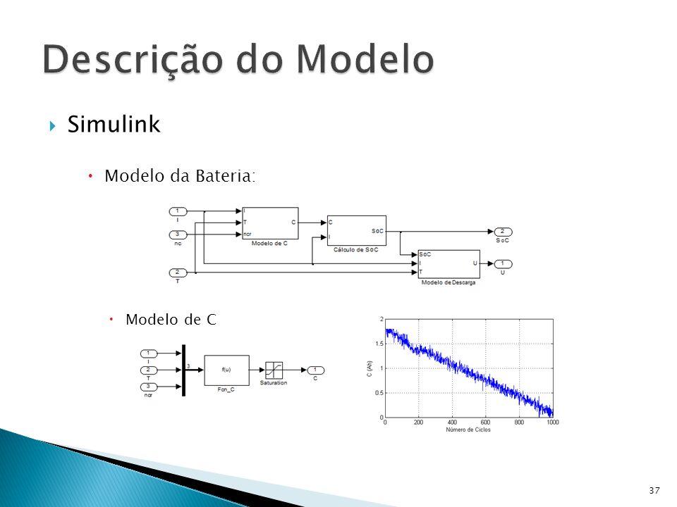 Descrição do Modelo Simulink Modelo da Bateria: Modelo de C