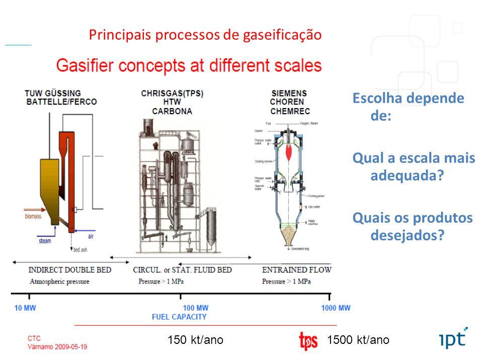 Principais processos de gaseificação
