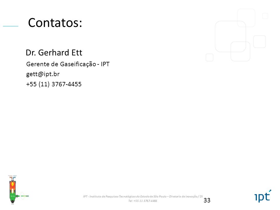 Contatos: Dr. Gerhard Ett Gerente de Gaseificação - IPT gett@ipt.br