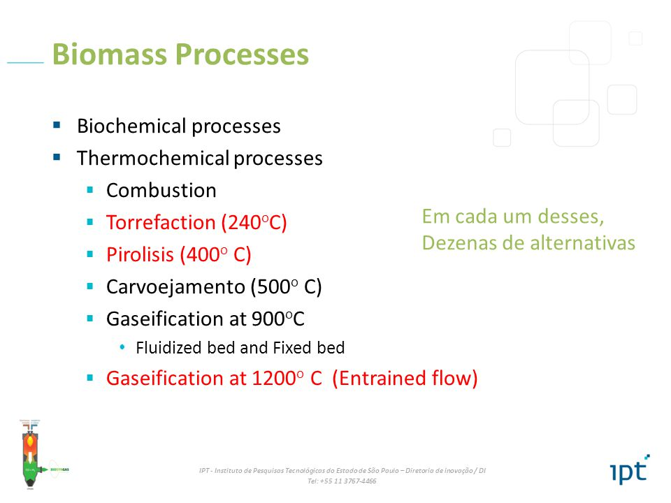 Biomass Processes Biochemical processes Thermochemical processes
