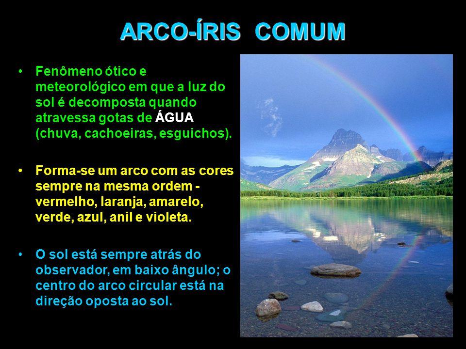 ARCO-ÍRIS COMUM Fenômeno ótico e meteorológico em que a luz do sol é decomposta quando atravessa gotas de ÁGUA (chuva, cachoeiras, esguichos).