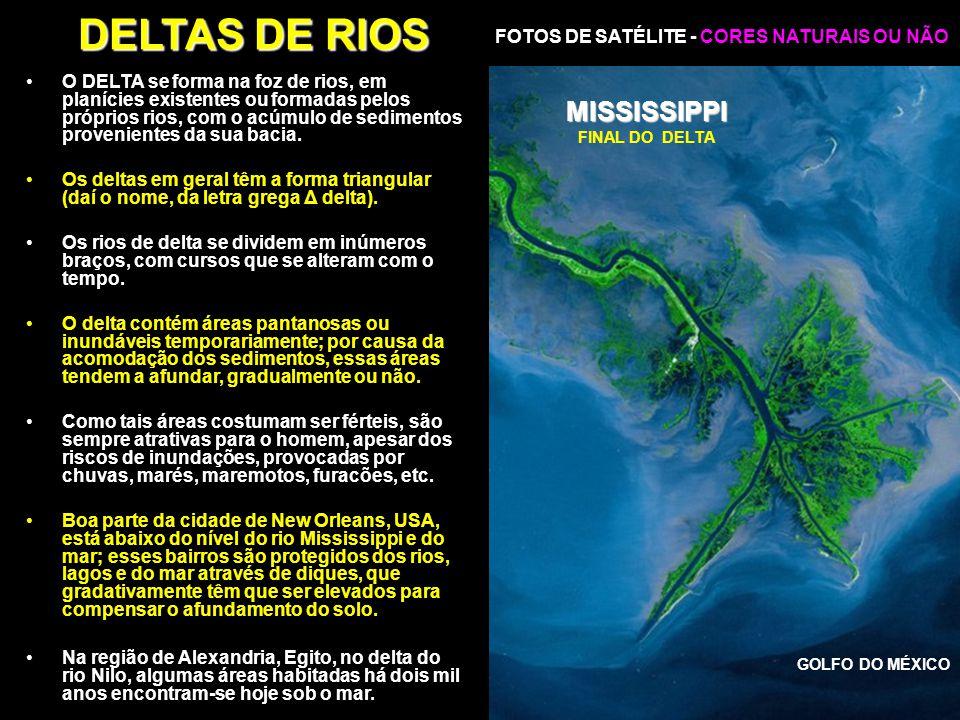 DELTAS DE RIOS MISSISSIPPI FOTOS DE SATÉLITE - CORES NATURAIS OU NÃO