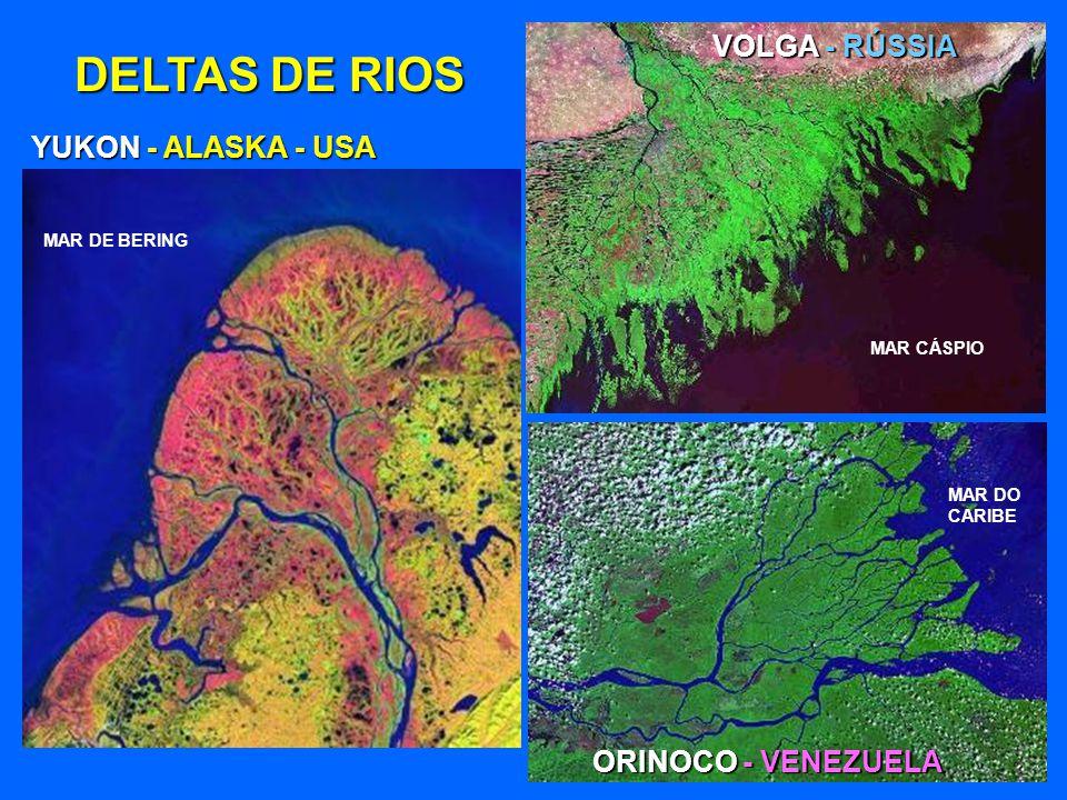 DELTAS DE RIOS VOLGA - RÚSSIA YUKON - ALASKA - USA ORINOCO - VENEZUELA