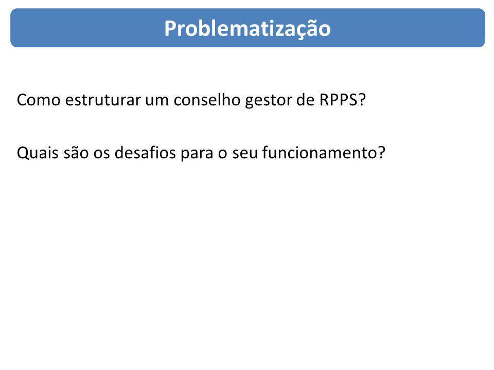 Problematização Como estruturar um conselho gestor de RPPS