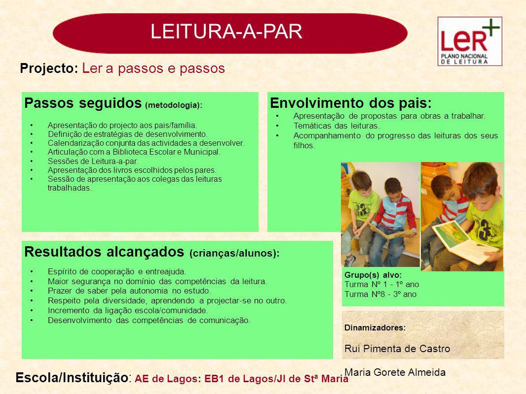 LEITURA-A-PAR Passos seguidos (metodologia): Envolvimento dos pais: