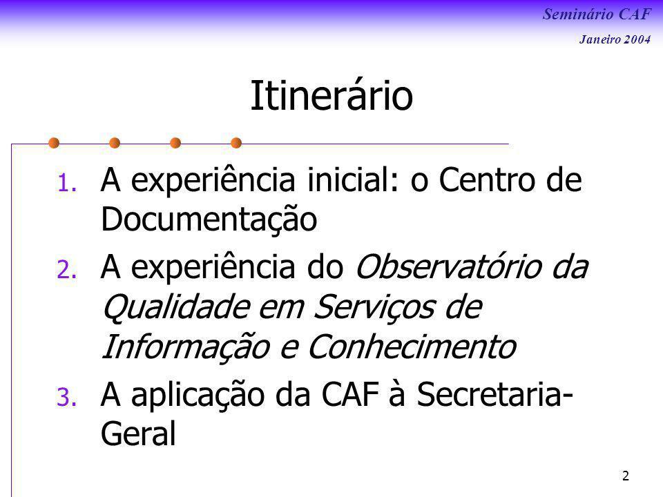 Itinerário A experiência inicial: o Centro de Documentação