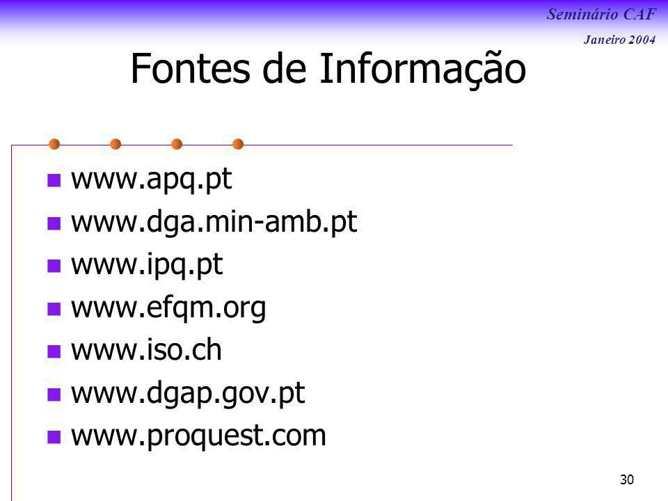 Fontes de Informação www.apq.pt www.dga.min-amb.pt www.ipq.pt
