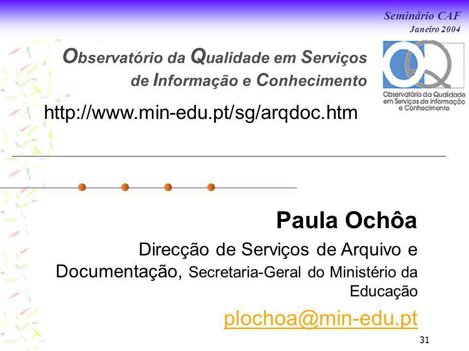 Observatório da Qualidade em Serviços de Informação e Conhecimento