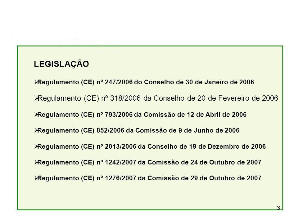 LEGISLAÇÃO Regulamento (CE) nº 247/2006 do Conselho de 30 de Janeiro de 2006. Regulamento (CE) nº 318/2006 da Conselho de 20 de Fevereiro de 2006.