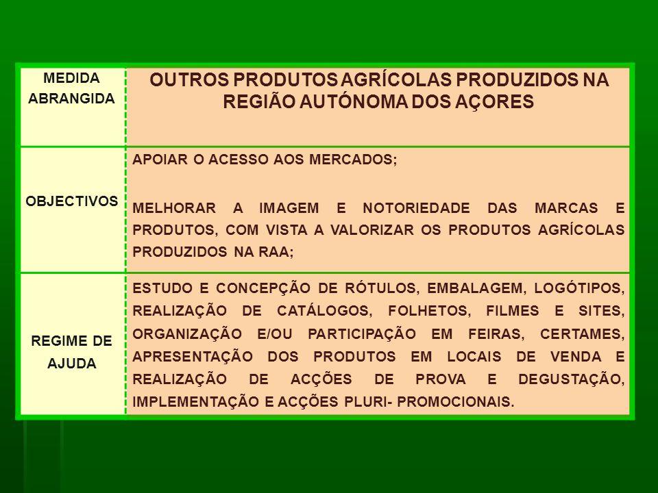 OUTROS PRODUTOS AGRÍCOLAS PRODUZIDOS NA REGIÃO AUTÓNOMA DOS AÇORES
