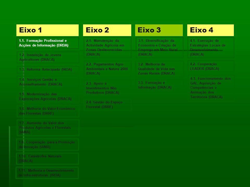 Eixo 1 Eixo 2. Eixo 3. Eixo 4. 1.1. Formação Profissional e Acções de Informação (DRDA)