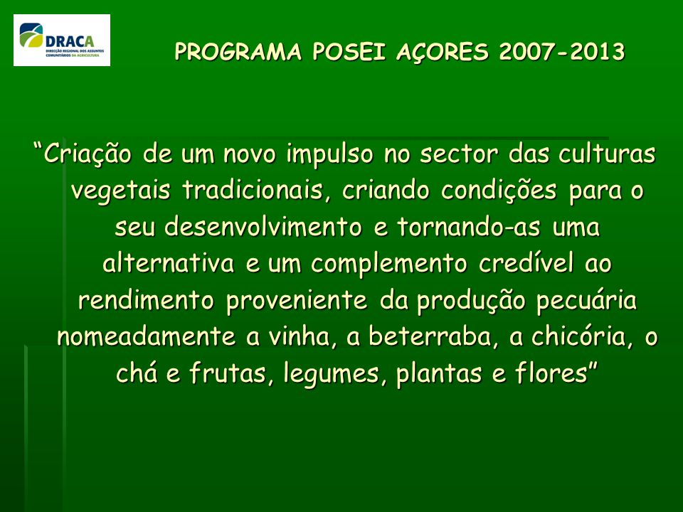 PROGRAMA POSEI AÇORES 2007-2013