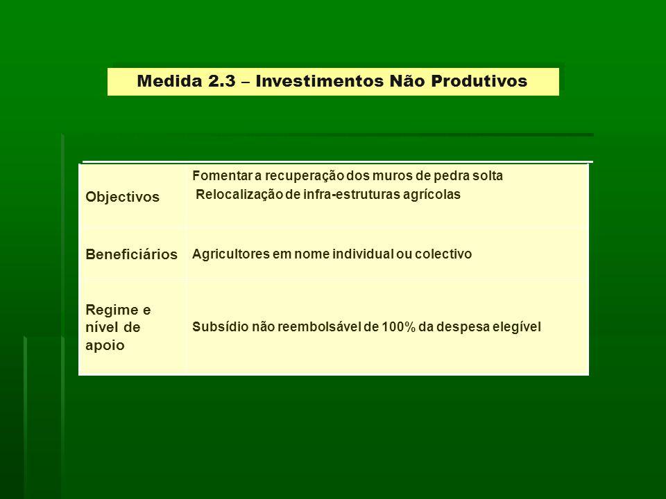 Medida 2.3 – Investimentos Não Produtivos