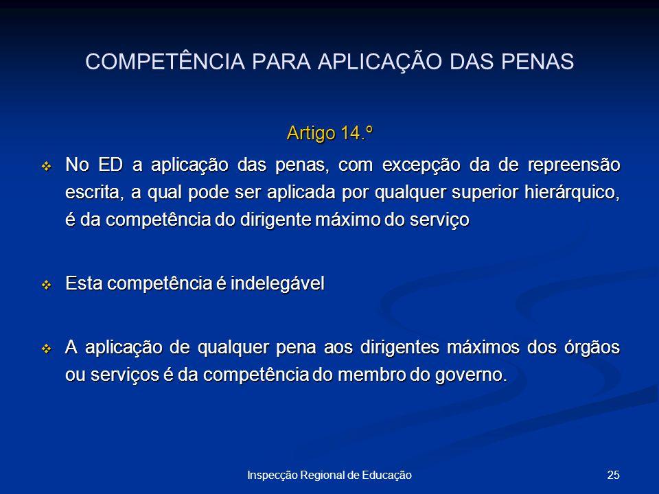 COMPETÊNCIA PARA APLICAÇÃO DAS PENAS