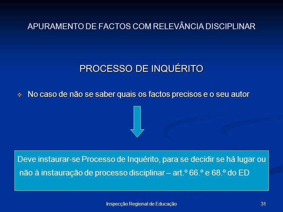 APURAMENTO DE FACTOS COM RELEVÂNCIA DISCIPLINAR