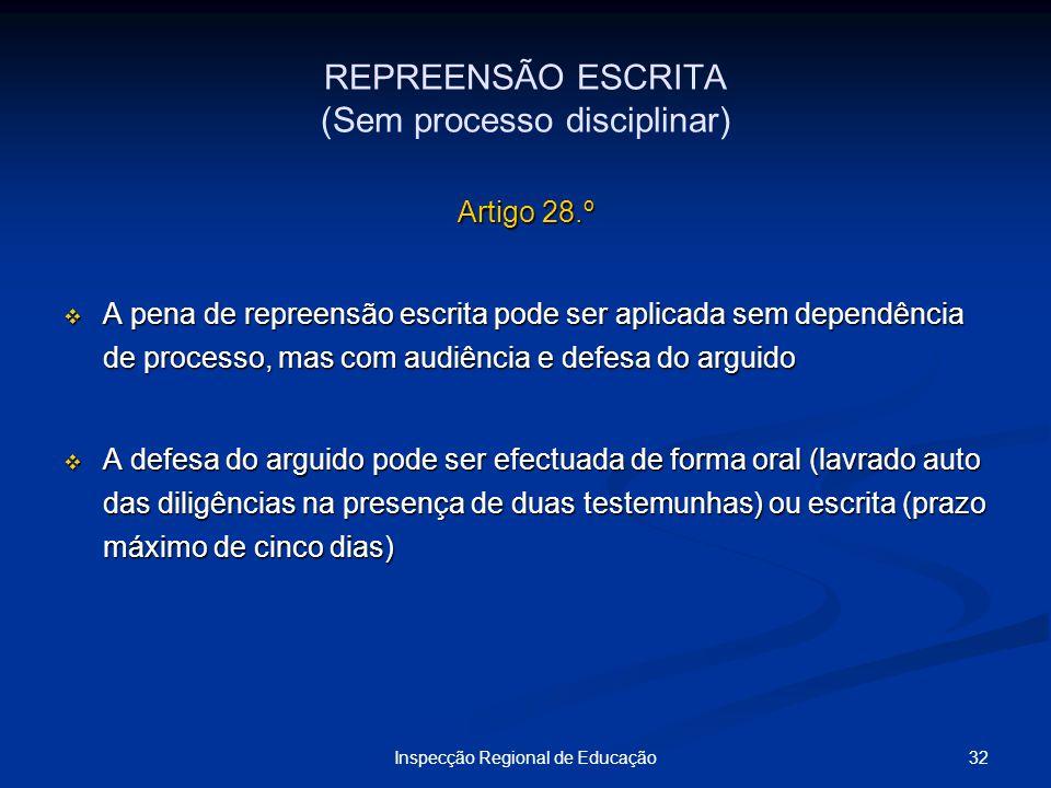 REPREENSÃO ESCRITA (Sem processo disciplinar)
