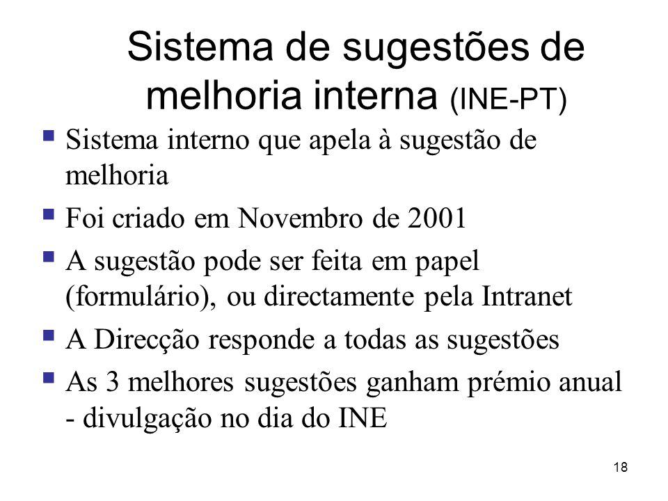 Sistema de sugestões de melhoria interna (INE-PT)