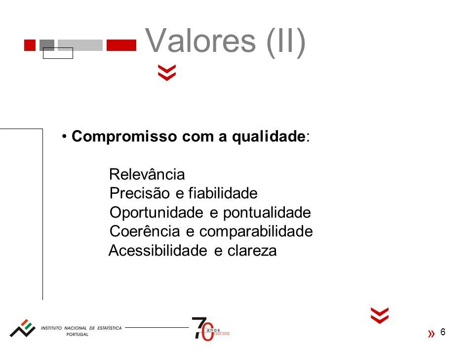 « « Valores (II) Compromisso com a qualidade: Relevância