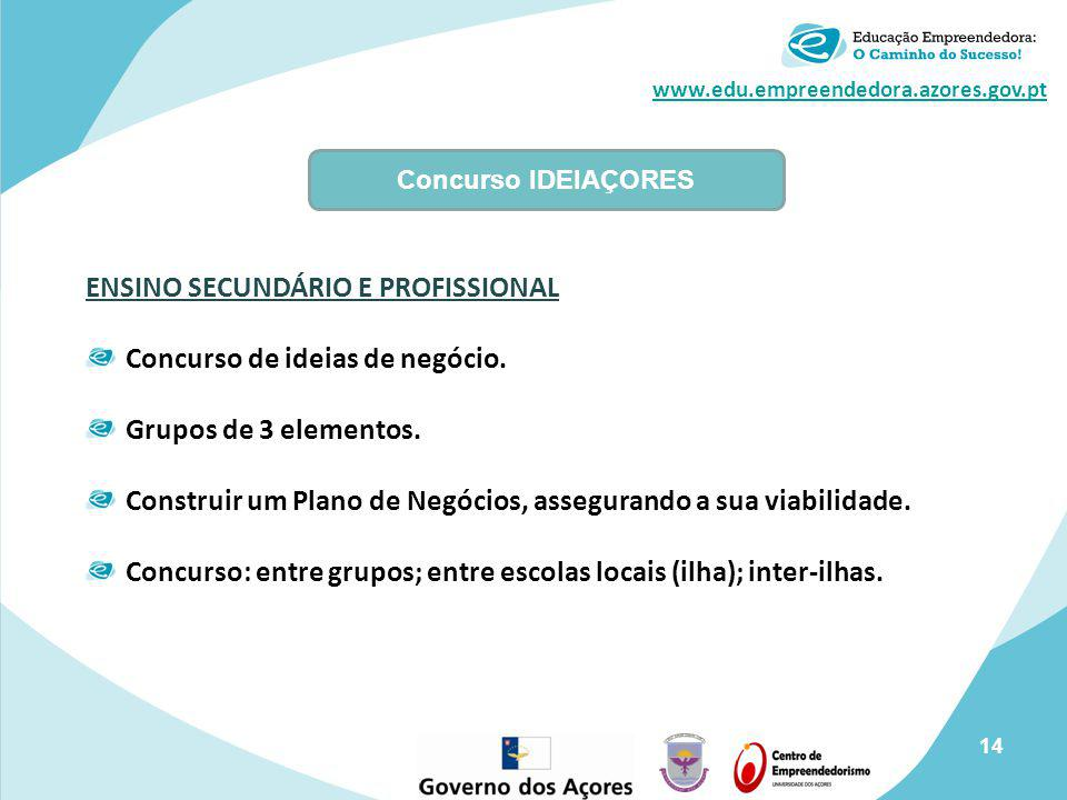ENSINO SECUNDÁRIO E PROFISSIONAL Concurso de ideias de negócio.