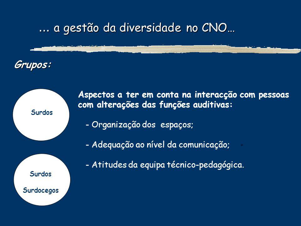 … a gestão da diversidade no CNO…