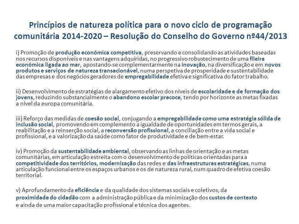 Princípios de natureza política para o novo ciclo de programação comunitária 2014-2020 – Resolução do Conselho do Governo nº44/2013