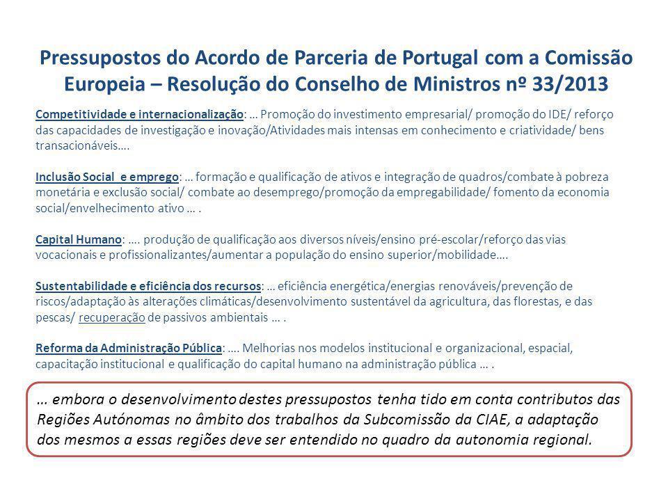 Pressupostos do Acordo de Parceria de Portugal com a Comissão Europeia – Resolução do Conselho de Ministros nº 33/2013