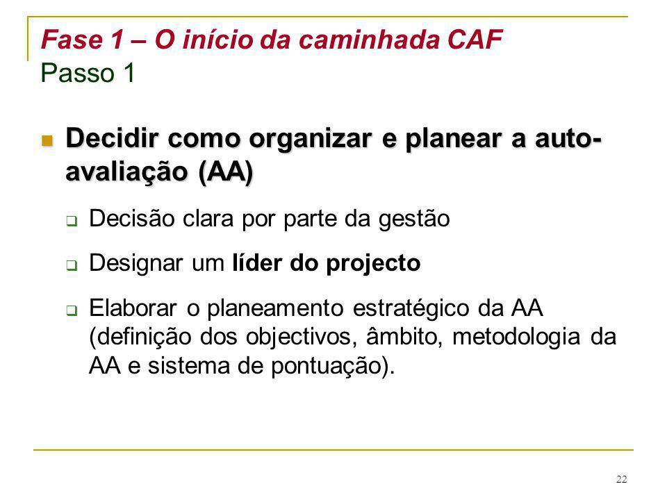 Fase 1 – O início da caminhada CAF Passo 1